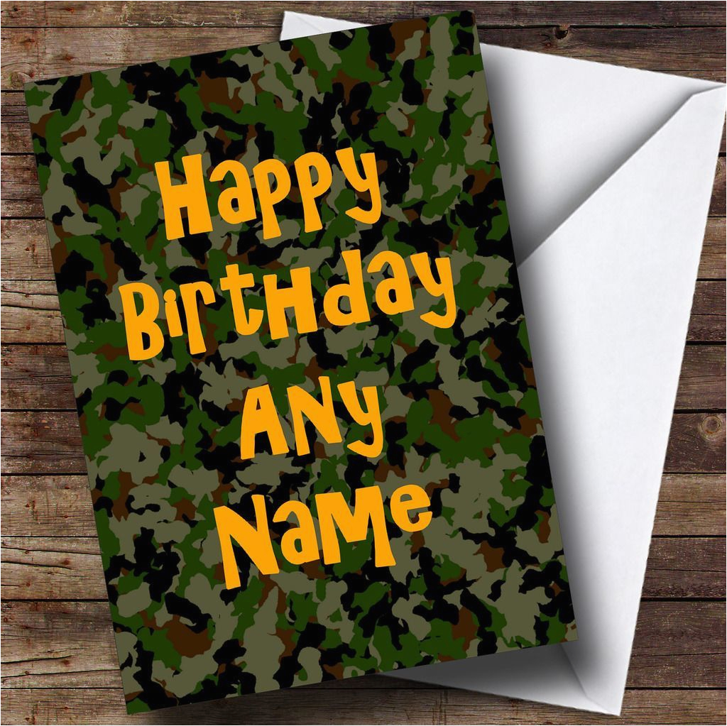 camouflage army soldier personalised birthday card the