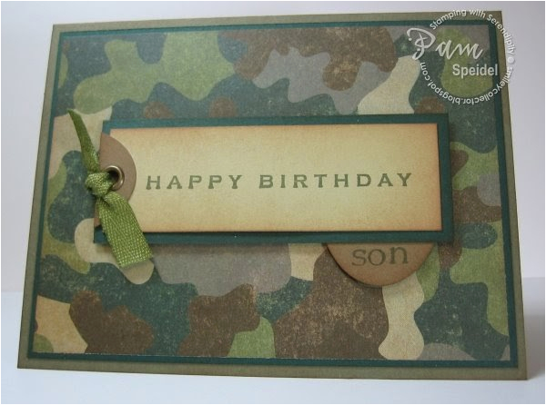 stamping with serendipity camo birthday card for an