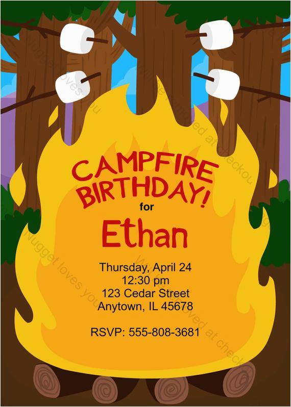 Campfire Birthday Party Invitations