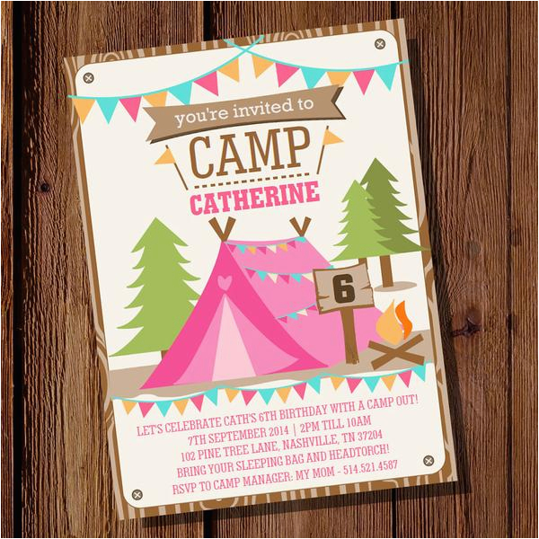 backyard camping party invitation for a girl summer campout invite