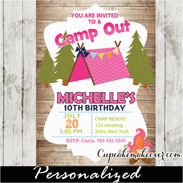 camping birthday invitations for girls rustic wood personalized