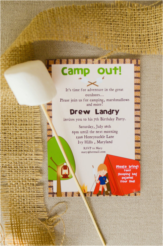 picture regarding Free Printable Camping Birthday Party Invitations identify Campout Birthday Get together Invites 6 Excellent Pics Of Cost-free