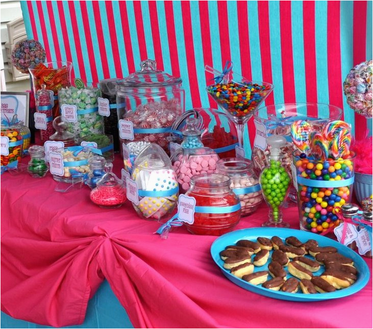 house kid birthday party decoration and candy buffet ideas