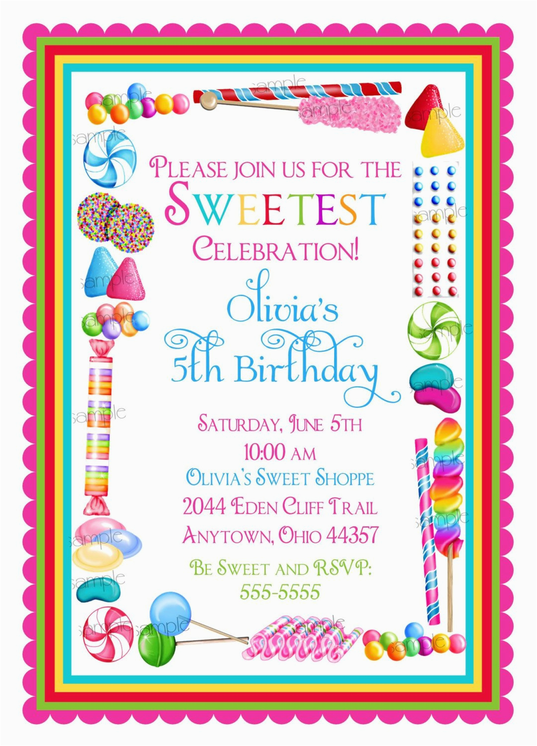 candy birthday invitations candy sprinkle sweet shoppe