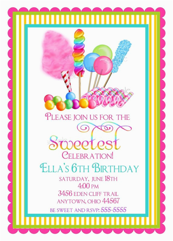 candy invitations sweet shop birthday party invitations