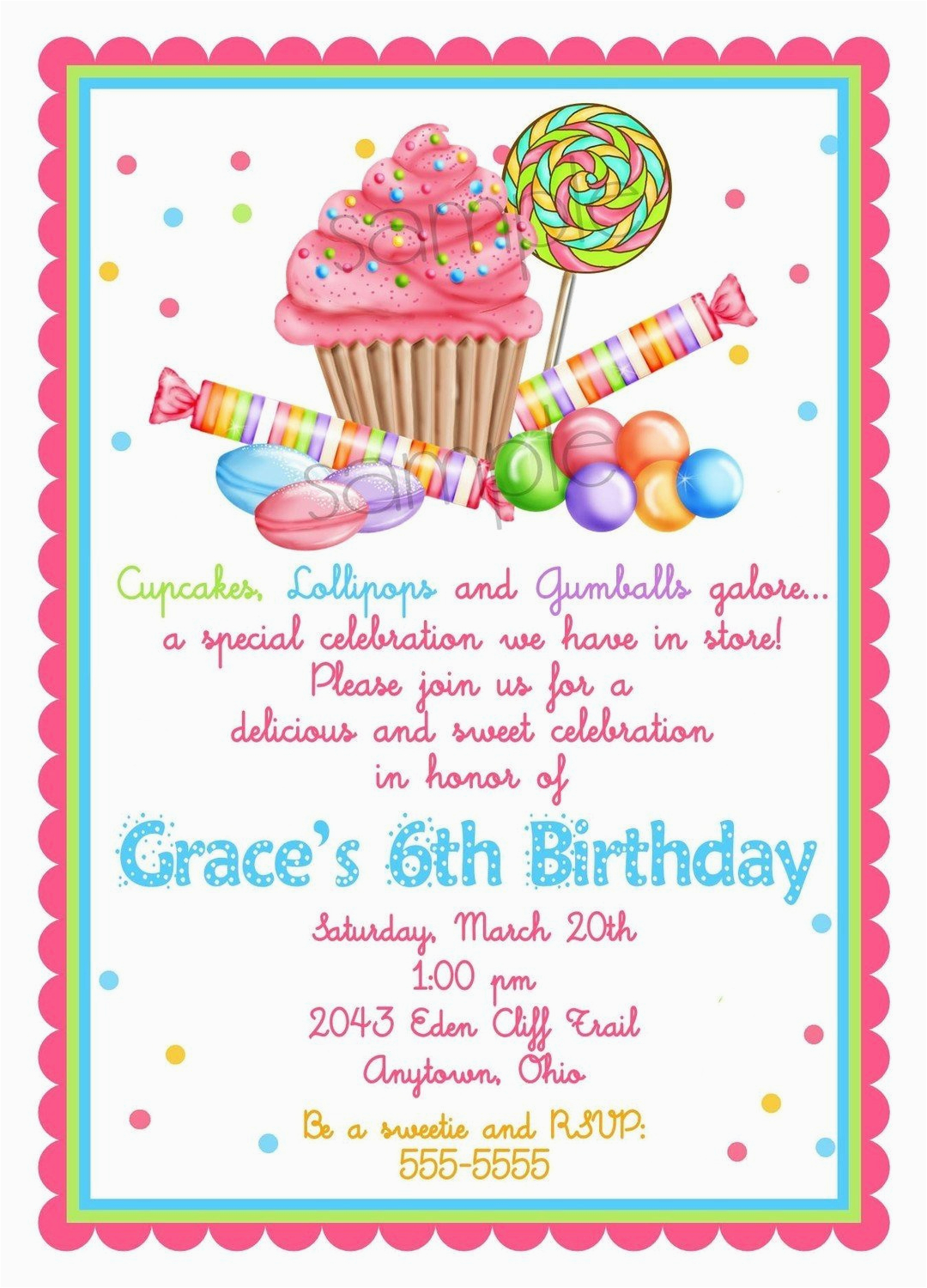 sweet shop birthday party invitations candy cupcake