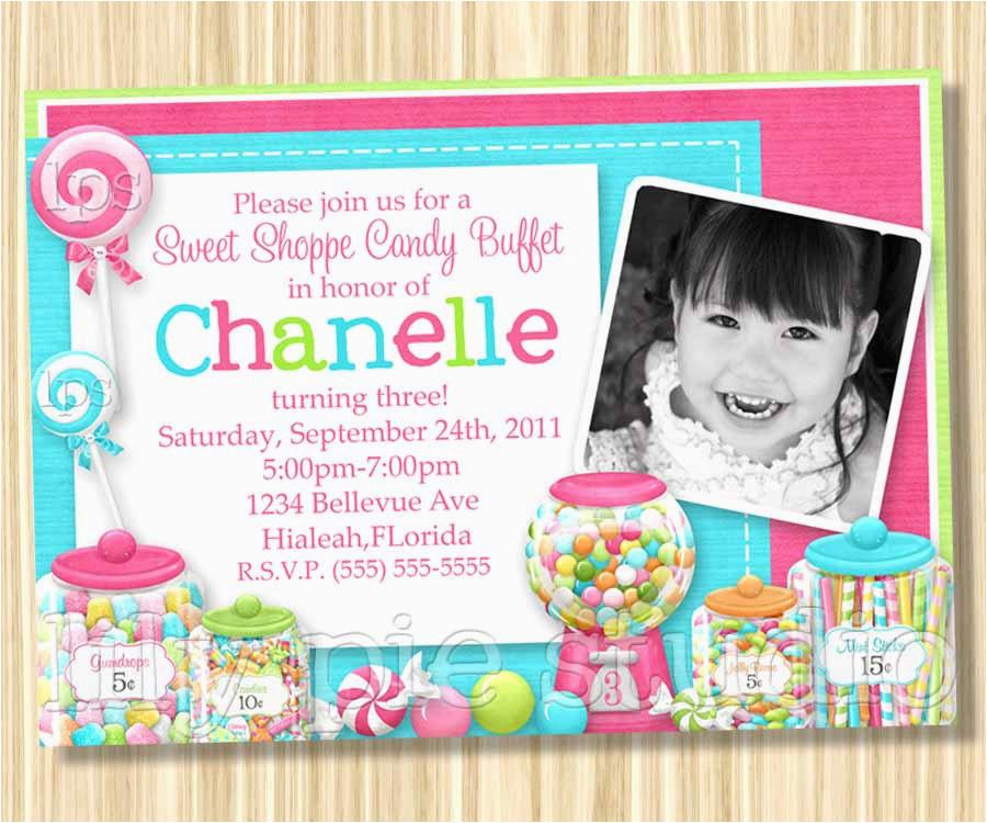 Candy Shoppe Birthday Invitations Sweet Shoppe Buffet Birthday Party Invitation Printable