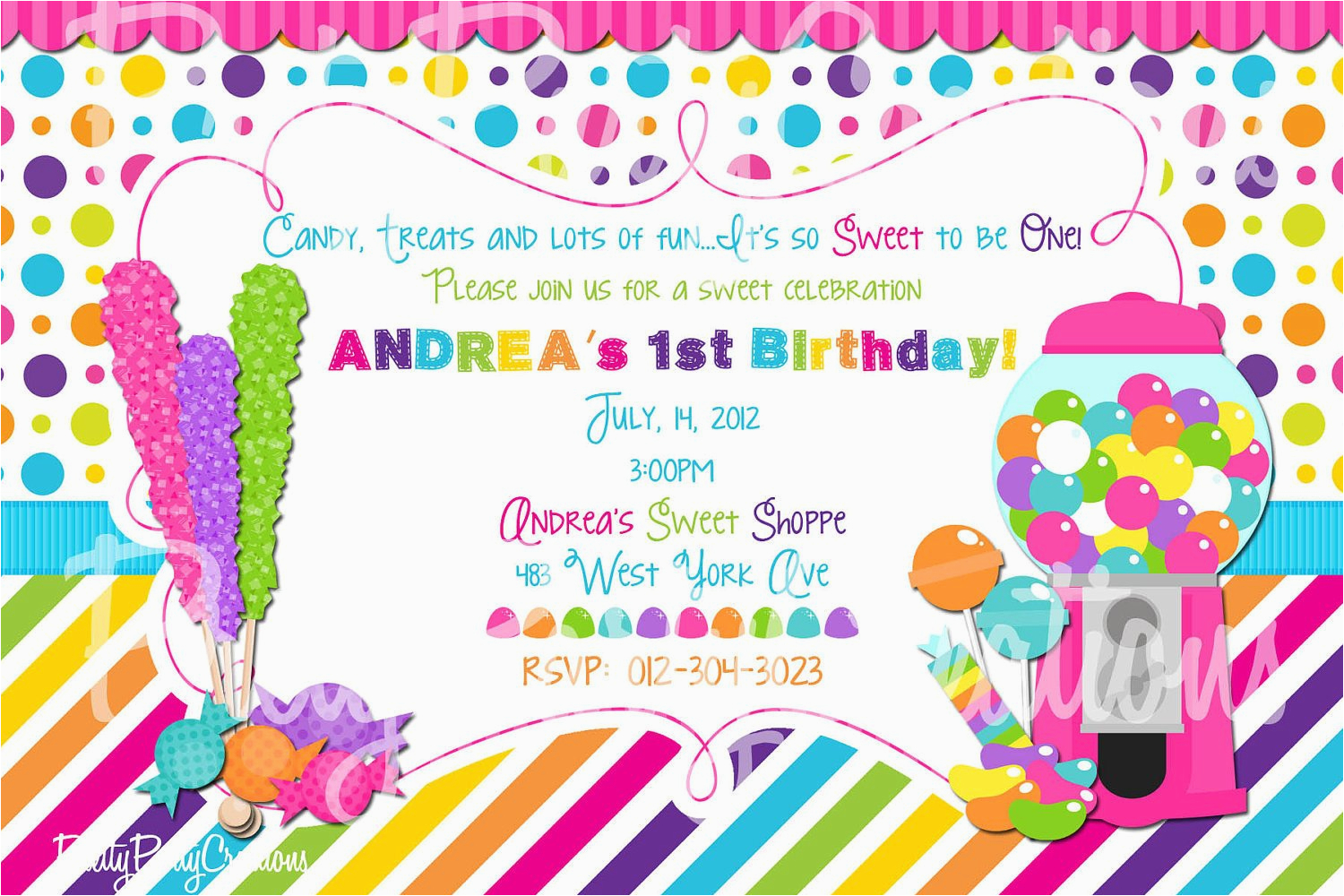 sweet shoppe pink birthday invitation you by