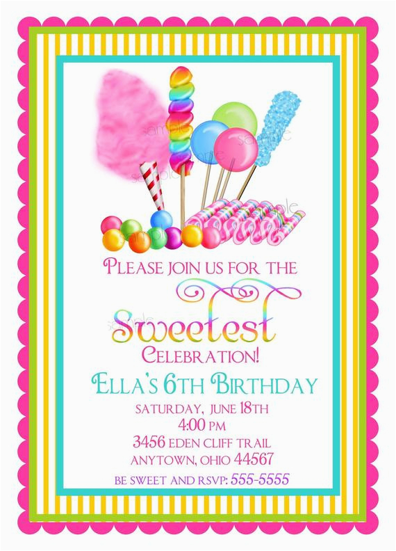 candyland birthday party invitations sweet shop