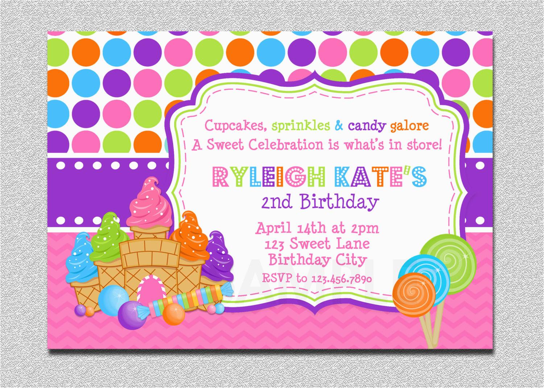 candyland birthday invitation sweet