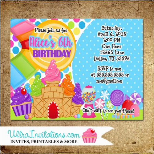 Candyland Birthday Invites Party Invitations