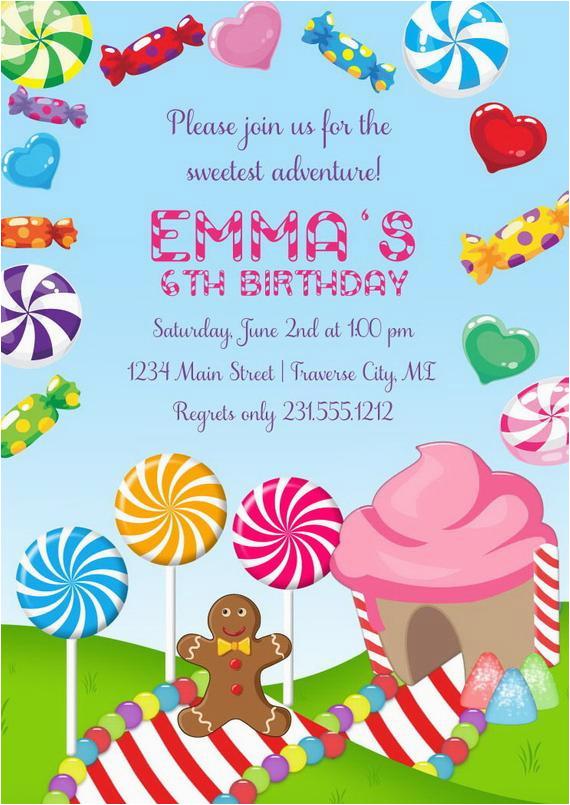 candyland invitation girls birthday