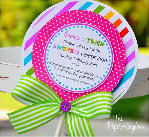 lollipop invitations candyland lollipop