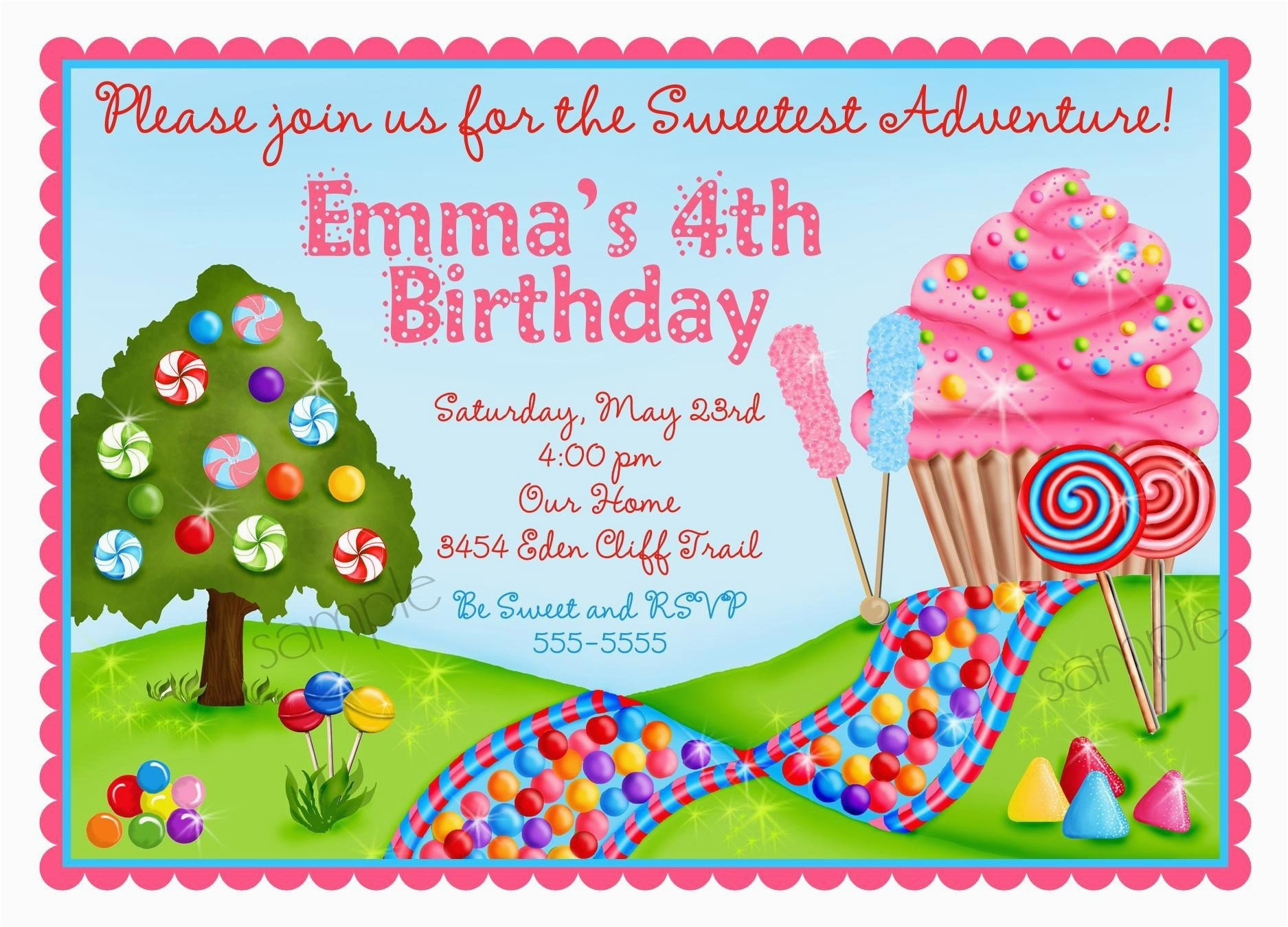 personalized invitations oh sweet candy