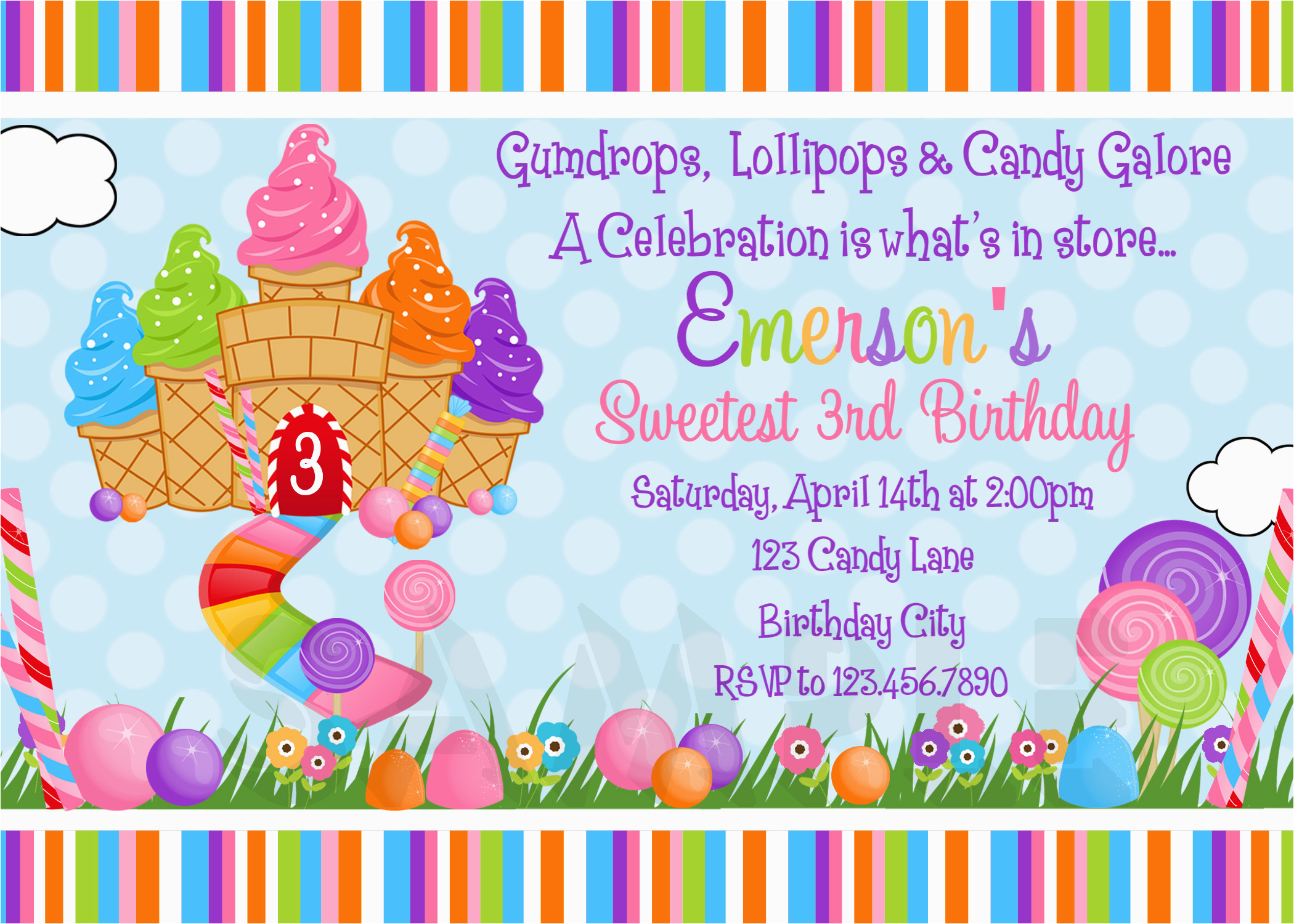 Candyland Birthday Invites Printable Birthday Invitations Girls Candyland Party