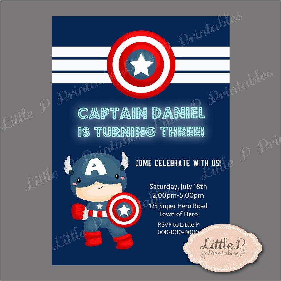captain america birthday invitation