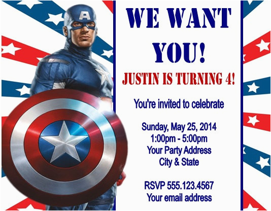 captain america birthday party invitation ideas