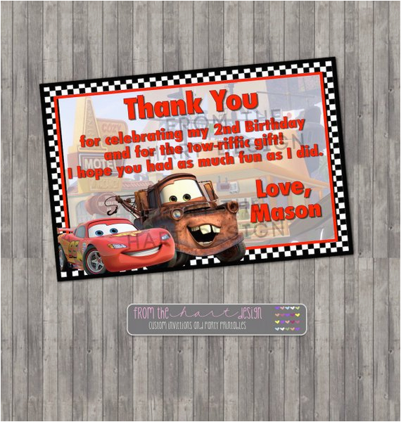 Car Themed Birthday Cards Disney Cars Thank You Card Digital Printable