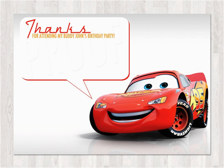 Car Themed Birthday Cards Disney Cars Thank You
