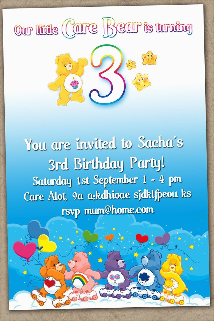 care bear birthday invitations