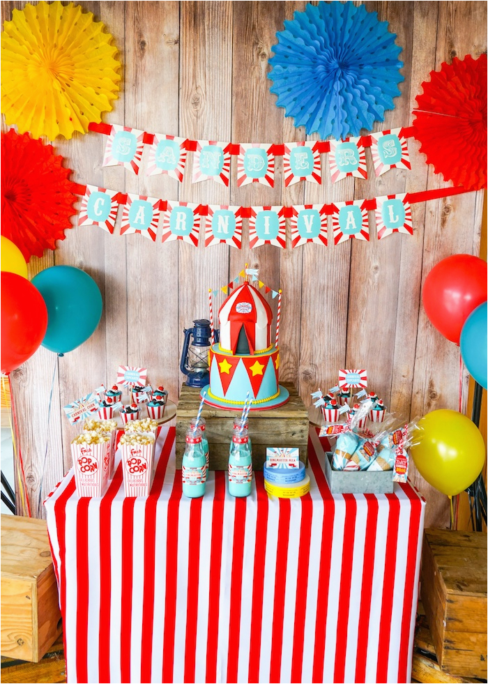 Carnival Birthday Party Decoration Ideas Kara 39 S Backyard