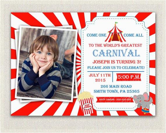 Carnival First Birthday Invitations Circus Theme 1st Invitation Girls Boys