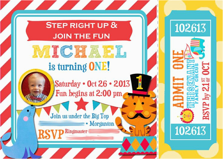 Carnival First Birthday Invitations Circus 1st Invitation Fisher Price