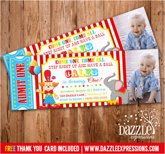 Carnival First Birthday Invitations Circus Ticket Photo Invitation