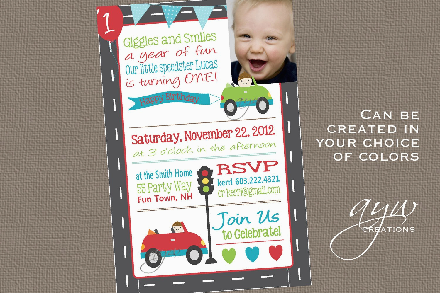 birthday party invitation cars first