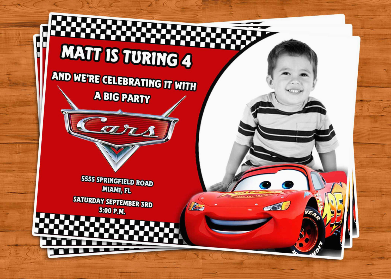 Cars First Birthday Invitations Invitation U Print By Ptycards On Etsy