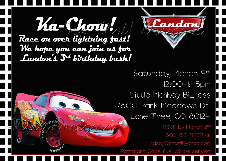 car themed birthday invitations