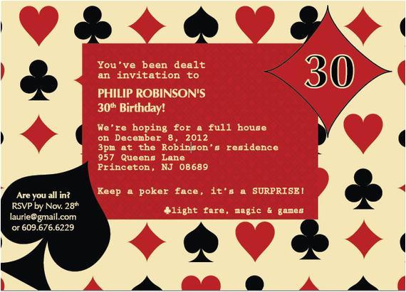 casino poker themed birthday invitation