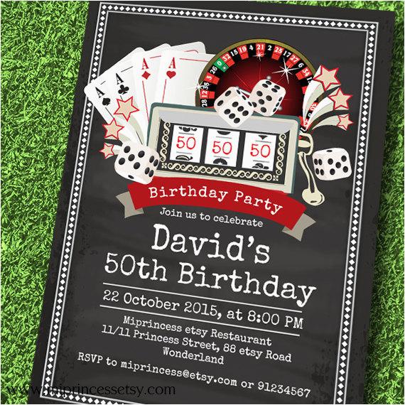 Casino Themed Birthday Invitations Poker Playing Card Invitation Vintage Theme