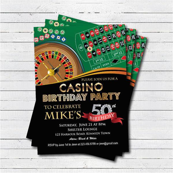 Casino Themed Birthday Party Invitations 50th Invitation Adult Man Surprise
