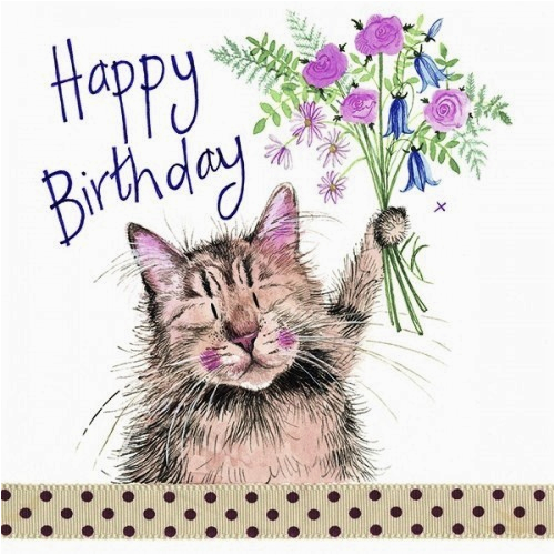 Cat Birthday E Card And Bouquet Sparkle Themed