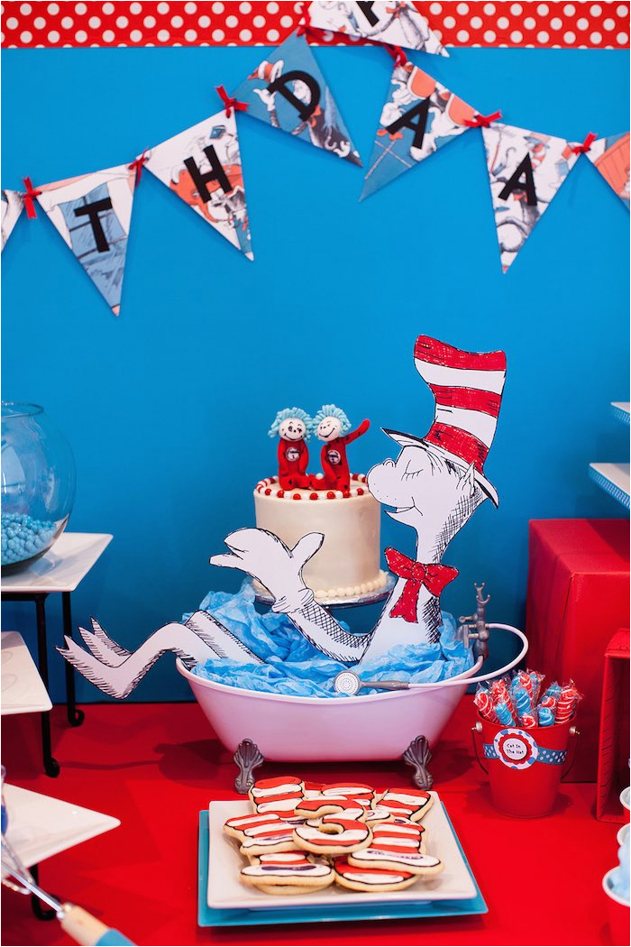 cat in the hat themed birthday party