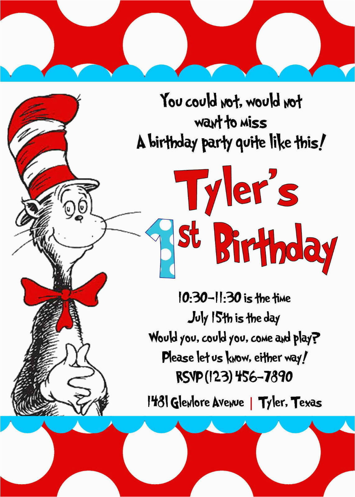 Cat In The Hat First Birthday Invitations Free Printable Party