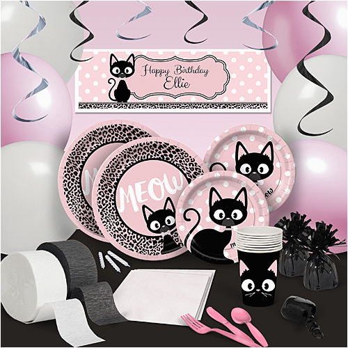 Cat Themed Birthday Party Decorations Kitty Diva Personalized Banner Shindigz