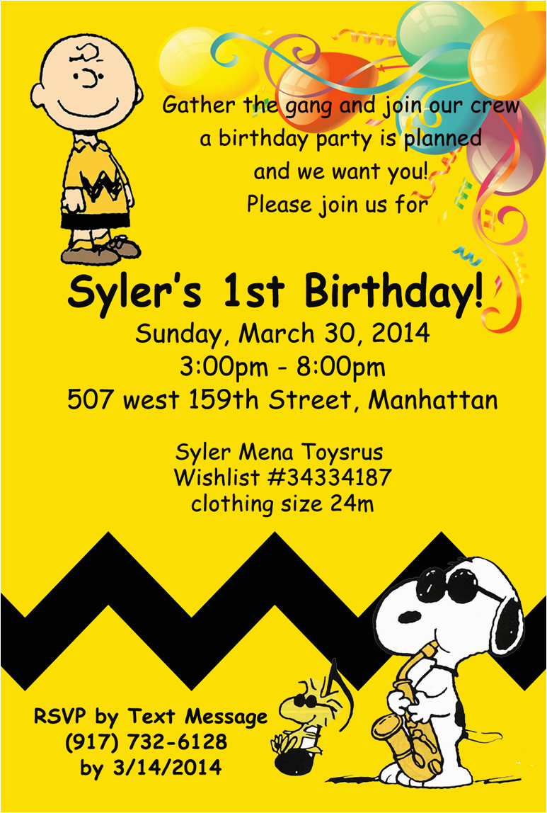 Charlie Brown Birthday Party Invitations Charlie Brown Birthday Invitation Sm events and Designs