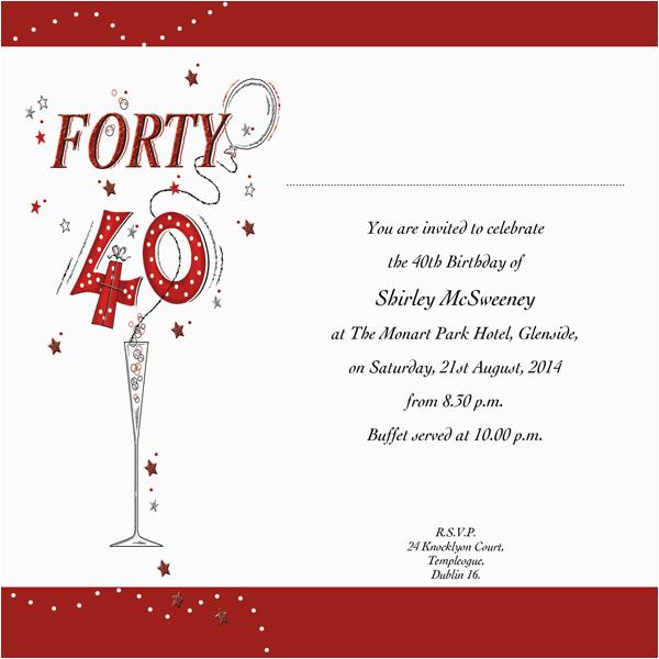occasion card 40 2w 40th birthday wedding invitations