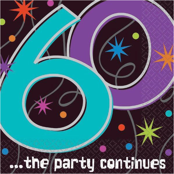 Cheap 60th Birthday Decorations the Party Continues 60th Birthday Napkins Discount