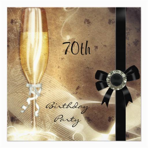 Cheap 70th Birthday Invitations Sepia Champagne Glass Black Diamond Announcement Zazzle