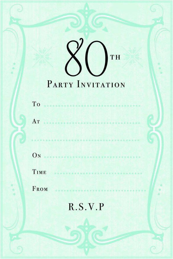 green 80th birthday party invitation jpg 585 873 80