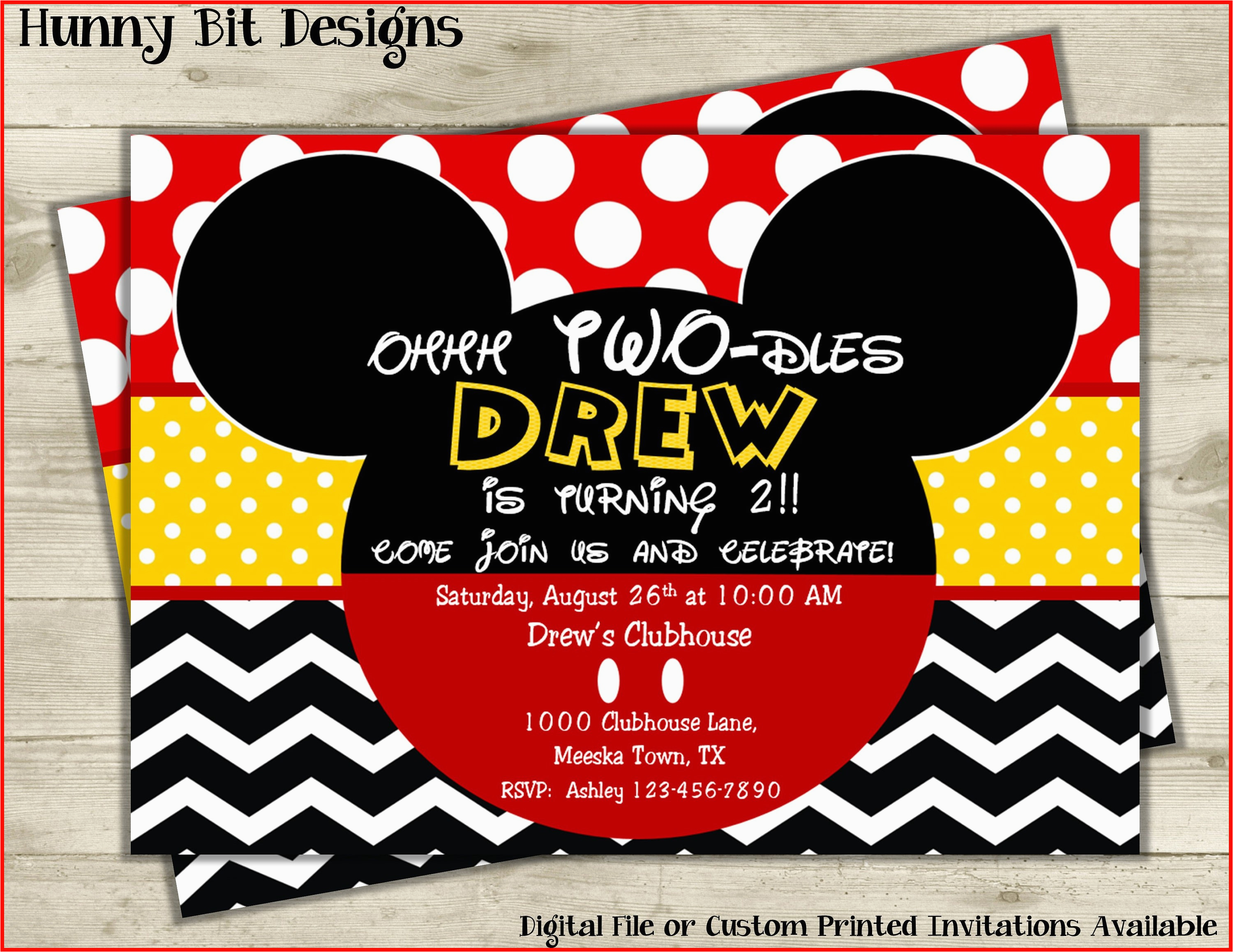 Cheap Mickey Mouse Birthday Invitations Red Minnie 15166