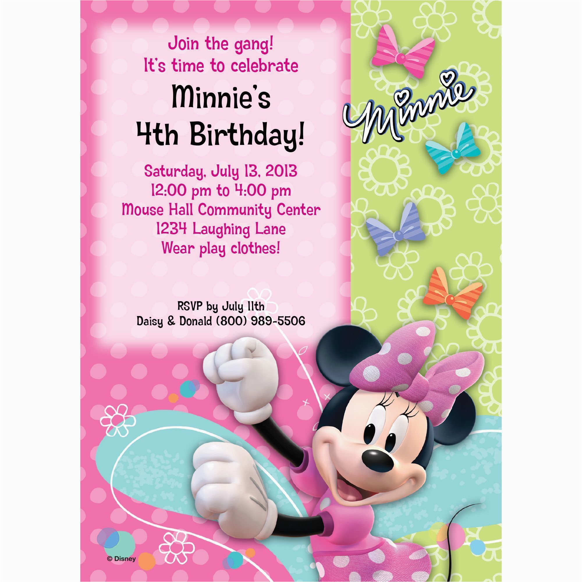 Cheap Minnie Mouse Birthday Invitations Personalized Invitation Each Discount