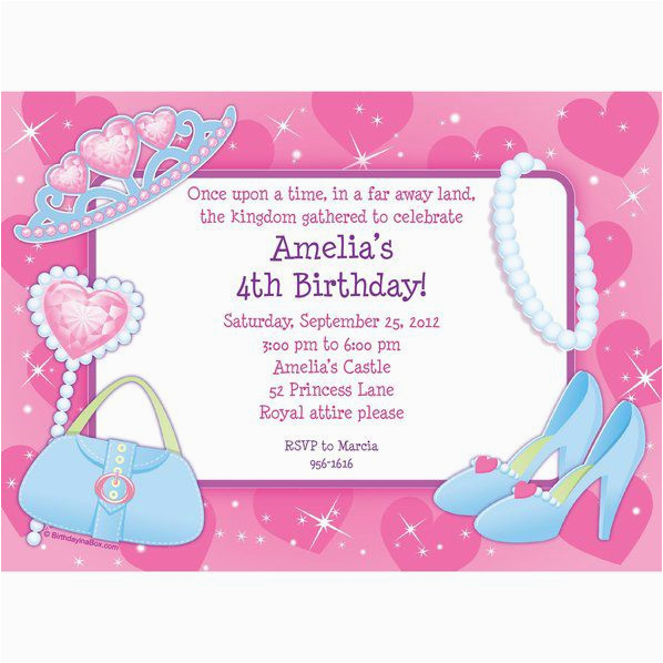 pink princess party personalized invitation each