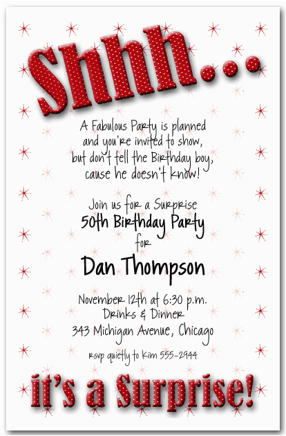 Cheap Surprise Birthday Invitations Nice 40th Invitation Wording Like