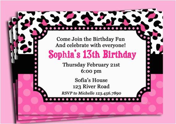 Cheetah Print Birthday Invitation Templates Pink Cheetah Print Polka Dot Invitation Printable or Printed