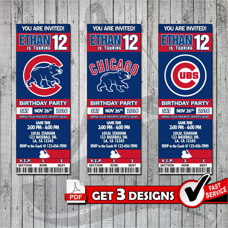 Chicago Cubs Birthday Invitations Baseball Printable Invitation Tickets Digital