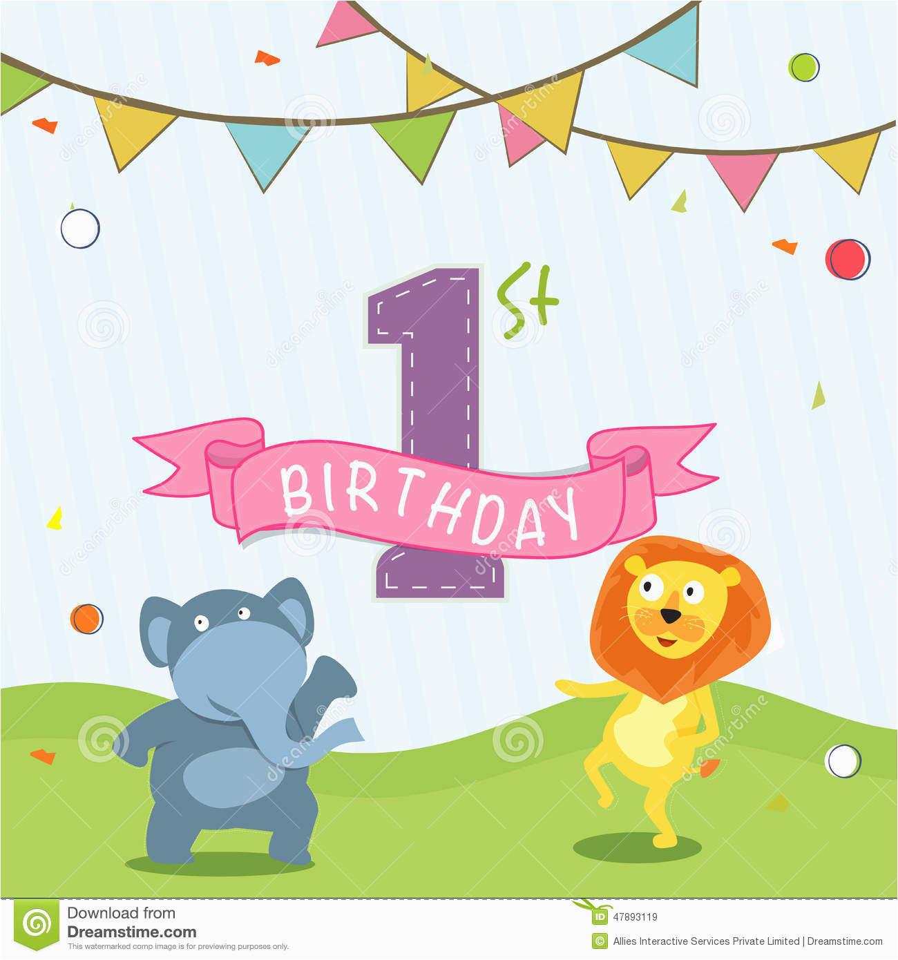 stock illustration kids st birthday celebration invitation card design party flag cartoon animals image47893119